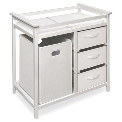 Badger Basket Modern Changing Table with Hamper - White