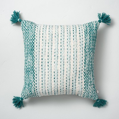 """18"""" x 18"""" Textured Woven Stripes Indoor/Outdoor Throw Pillow Teal - Hearth & Hand™ with Magnolia"""