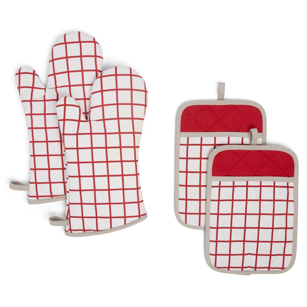 Image of 4pc Cotton Bistro Grid Oven Mitt and Pot Holder Set Red - Town & Country Living