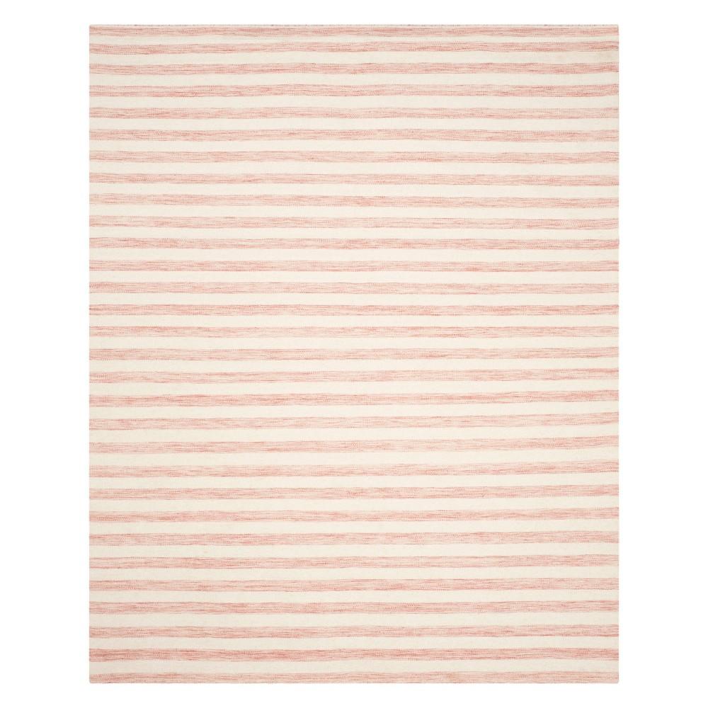 8'X10' Stripe Area Rug Rust/Ivory (Red/Ivory) - Safavieh