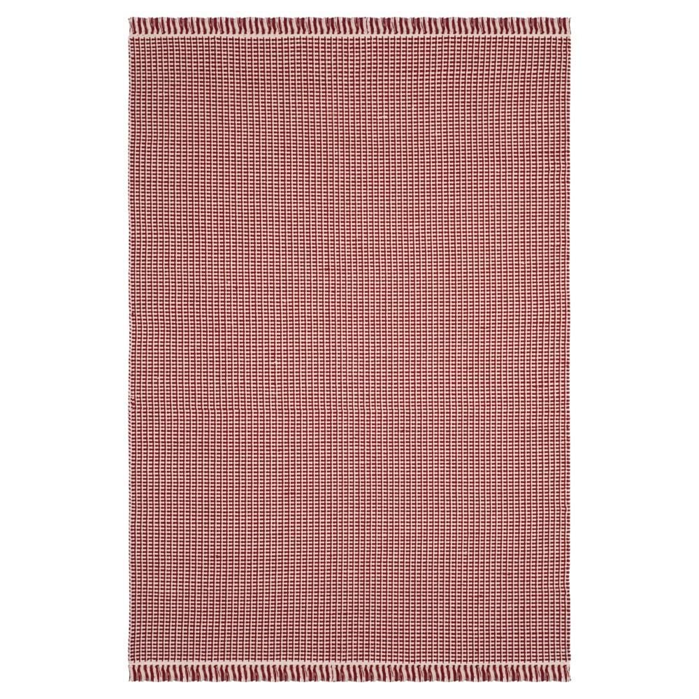 Ivory/Red Stripe Flatweave Woven Area Rug 4'X6' - Safavieh