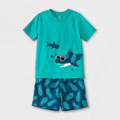 Toddler Boys' 2pc Shark Short Sleeve T-Shirt and Pineapple Print Pull-On Shorts Set - Just One You® made by carter's Teal
