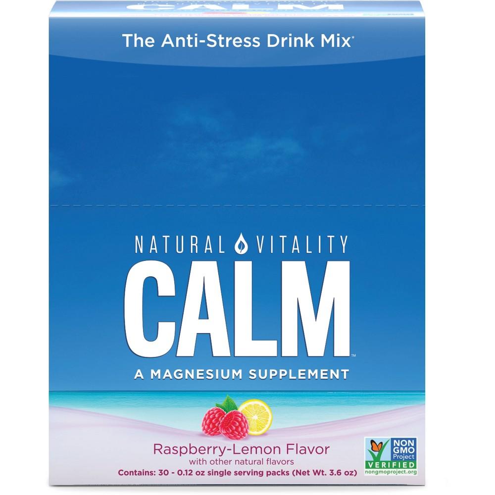 Natural Vitality Natural Calm Anti Stress Vegan Magnesium Supplement Powder Raspberry Lemon 30pk