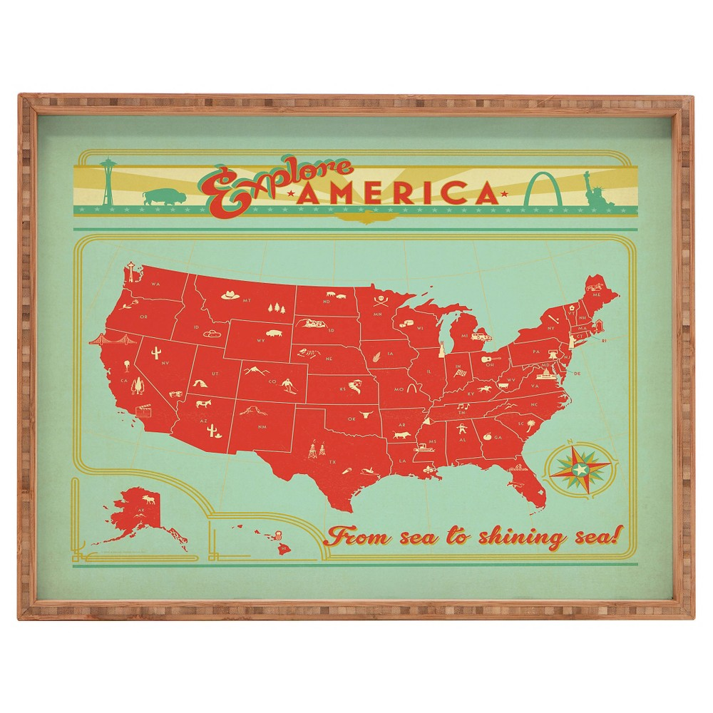Image of Anderson Design Group Explore America Rectangle Tray - Red - Deny Designs