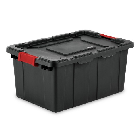 Sterilite 15gal Industrial Tote Black With Black Lid And Red Latches - image 1 of 1