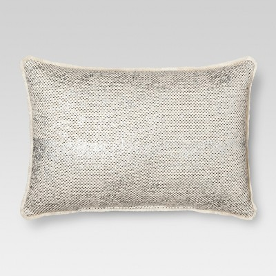 Mini Fringe Oversize Lumbar Throw Pillow Metallic - Threshold™
