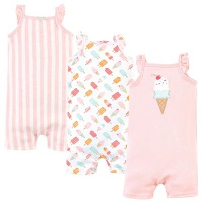 Hudson Baby Infant Girl Cotton Rompers 3pk, Ice Cream