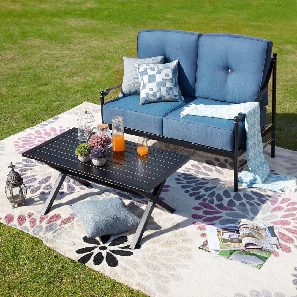 The 2 Piece Sofa Seating Group with Cushions includes 1 coffee table and 1 loveseat. This conversation set will be a beautiful addition to your patio, balcony or outdoor entertainment area. The set has solid iron frames and removable polyester cushions with thick foam fill. The table is perfect to place a potted plant or resting a cup of juice. Enjoy drinking with a friend in your backyard, or watch the sunset with your loved one from the front patio with this inviting conversation set. Gender: unisex.