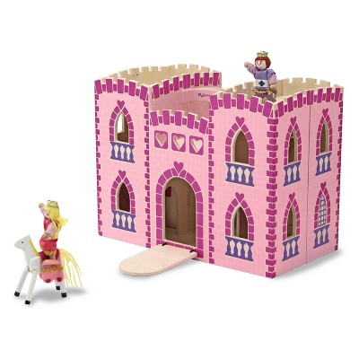 Melissa & Doug Fold and Go Wooden Princess Castle With 2 Royal Play Figures, 2 Horses, and 4pc of Furniture