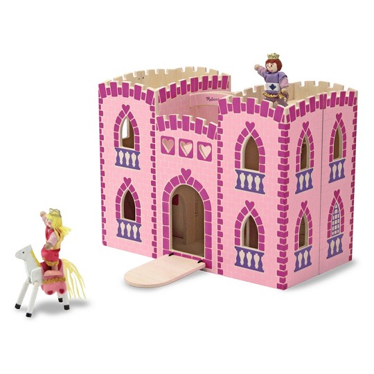 Melissa & Doug Fold and Go Wooden Princess Castle With 2 Royal Play Figures, 2 Horses, and 4pc of Furniture image number null