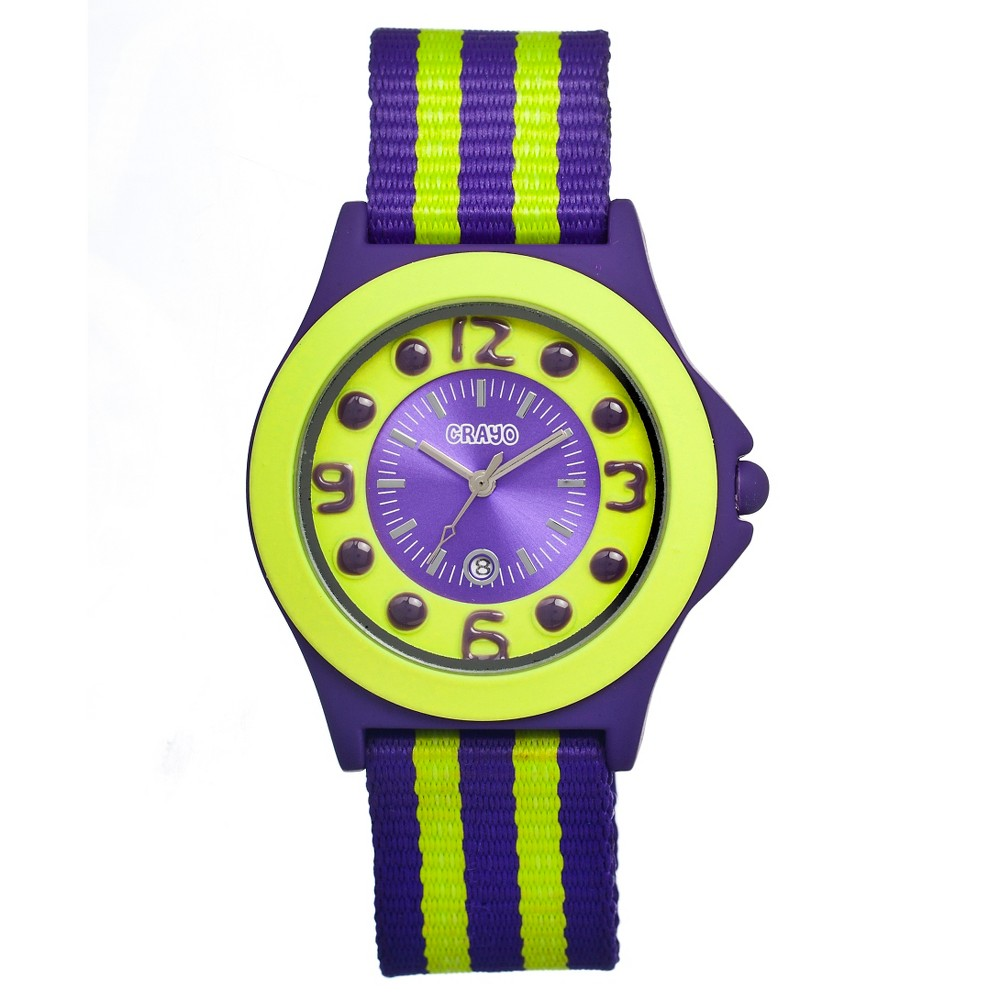 Women's Crayo Carnival Watch with Date Display and Two-Tone Nylon Strap-Purple/Yellow, Purple