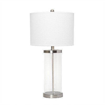 Entrapped Glass Table Lamp with Fabric Shade Brushed Nickel - Lalia Home