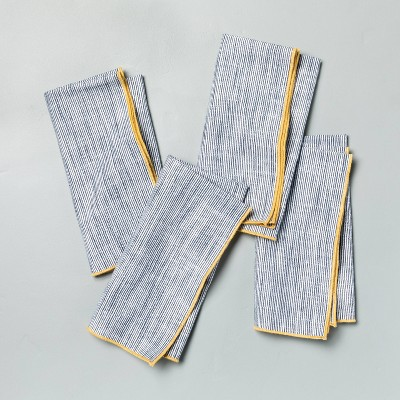 4pk Textured Thin Stripe Napkin Set Faded Blue with Yellow Trim - Hearth & Hand™ with Magnolia