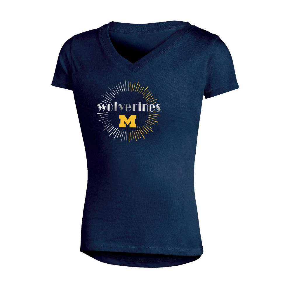 NCAA Girls' V-Neck T-Shirt Michigan Wolverines - S, Multicolored