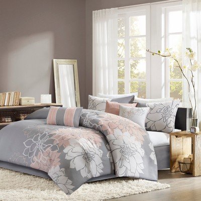 7pc California King Jane Comforter Set Gray/Blush
