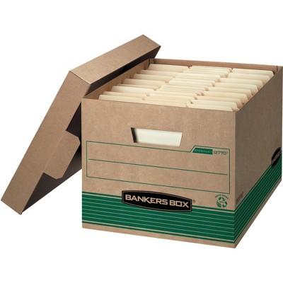 """Fellowes Storage File Boxes w/Lid 550 lb 12""""x15""""x10"""" 20/CT Kraft/GN 1277008"""
