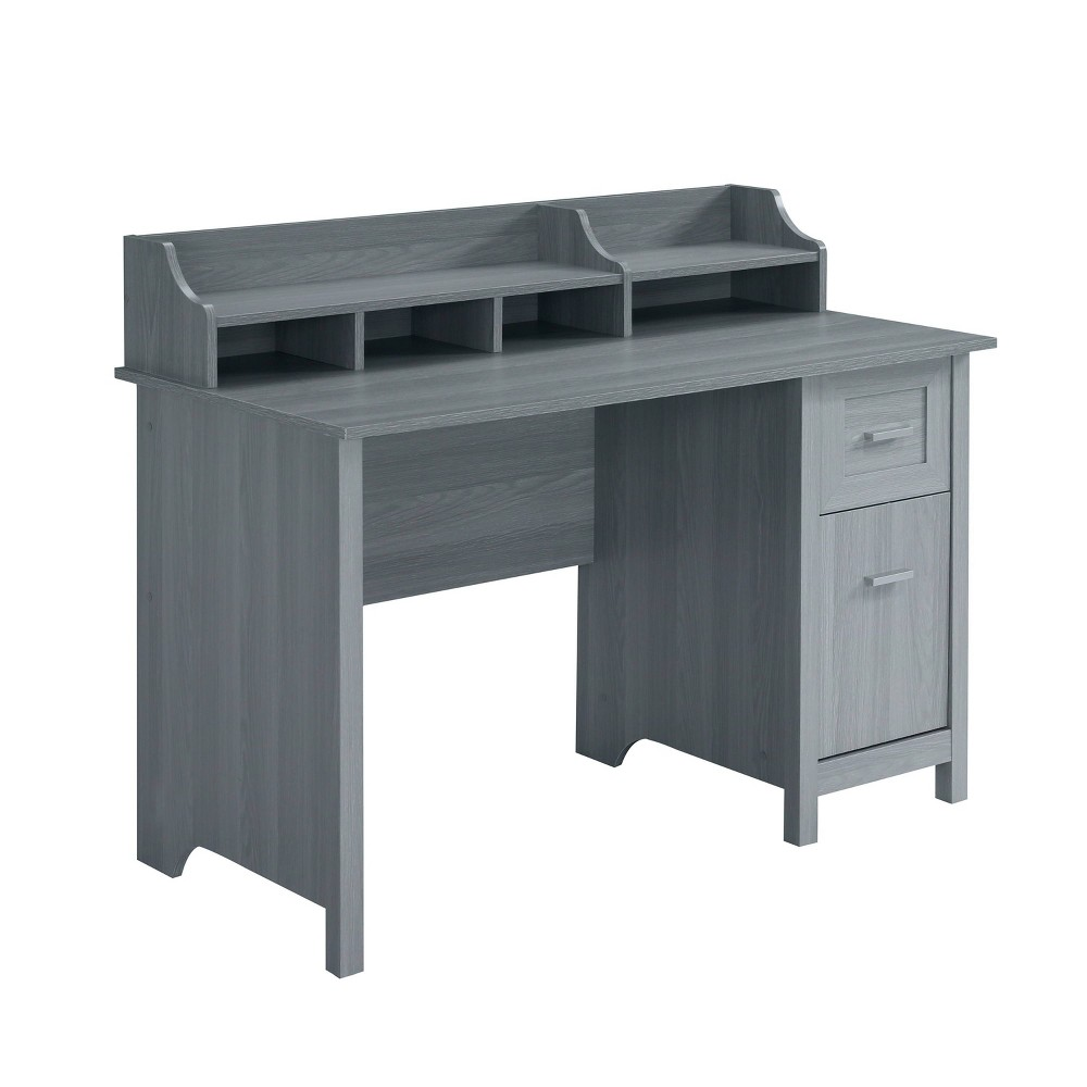 Image of Classic Office Desk with Storage Gray - Techni Mobili