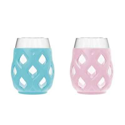Ello Cru 2pk 17oz Wine Glass Gift Set Blue/Pink