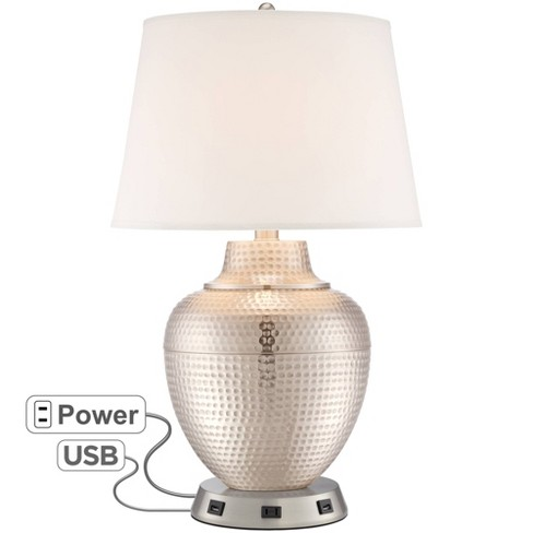 Barnes and Ivy Modern Table Lamp with USB and AC Power Outlet Workstation Charging Base Hammered Brushed Nickel for Living Room - image 1 of 4
