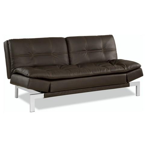 Venetia Bonded Leather Convertible Sofa In Java With Tan Baseball Sching Serta Target