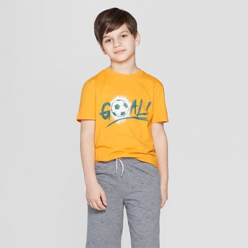 Boys' Soccer Ball Short Sleeve Graphic T-Shirt - Cat & Jack™ Orange - image 1 of 3