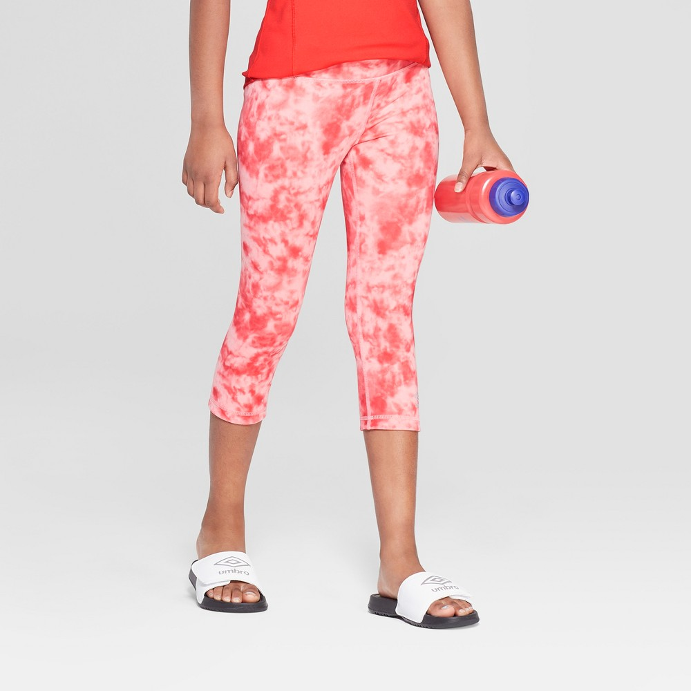 Umbro Girls' Reversible Performance Capri Leggings - Hibiscus Pink M