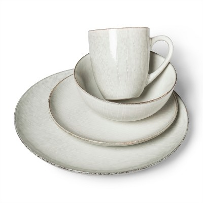 16pc Stoneware Solene Round Dinnerware Set Gray/White - Project 62™
