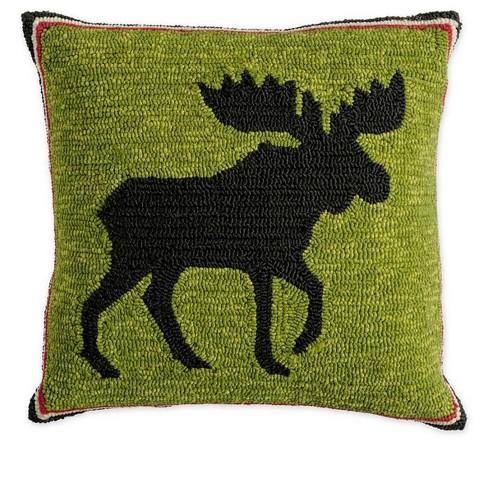 Indoor Outdoor Hooked Moose 18 Sq Throw Pillow Plow Hearth