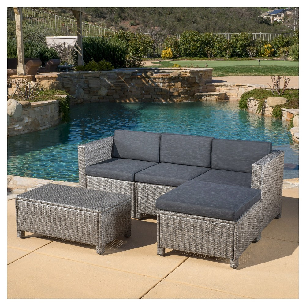 Puerta 5pc Wicker Patio Sectional Sofa Set with Cushions - Multi Gray with Dark Gray Cushions - Christopher Knight Home, Grey