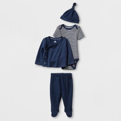 Baby Boys' 4pc Bodysuit Sets - Cloud Island™ Navy Newborn