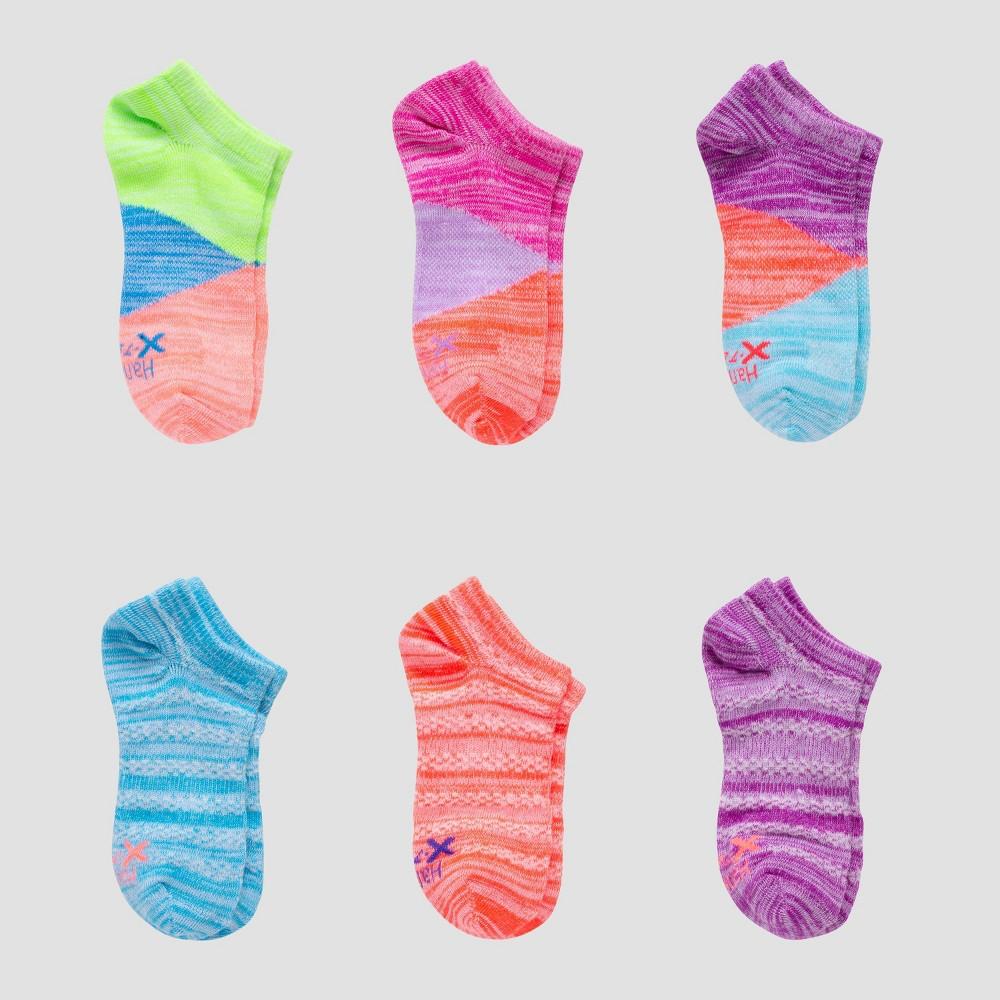 Girls 39 Hanes Premium 6pk Super No Show Socks Colors May Vary L