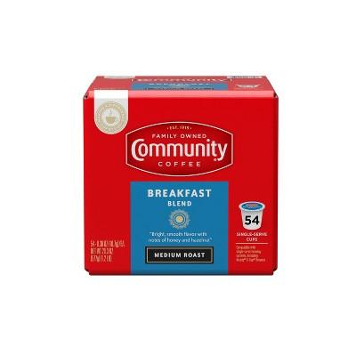 Community Coffee Breakfast Blend Medium Roast Coffee - Keurig K-Cup Brewer Compatible Pods - 54ct