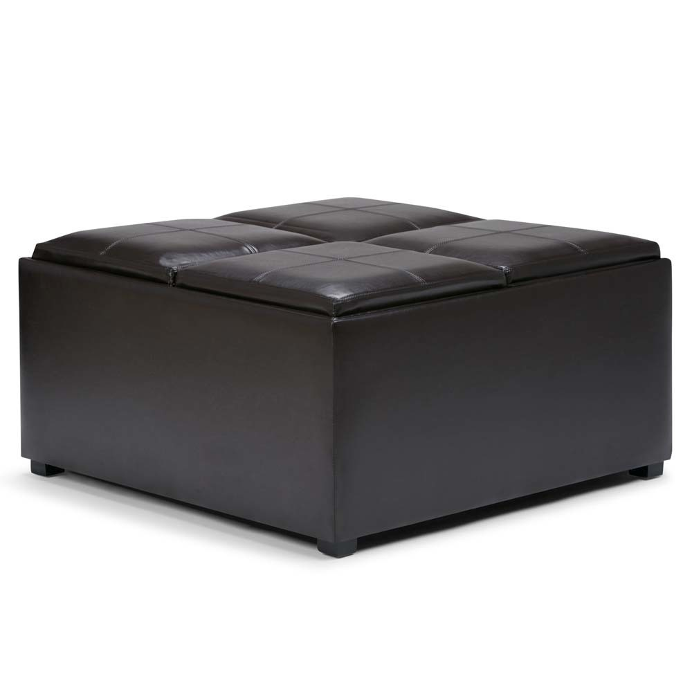 FranklSquare Coffee Table Storage Ottoman Tanners Brown Faux Leather - Wyndenhall
