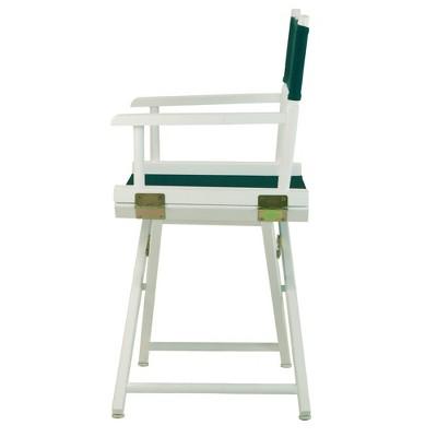 Director's Chair - White Frame, Green Canvas, Hunter Green