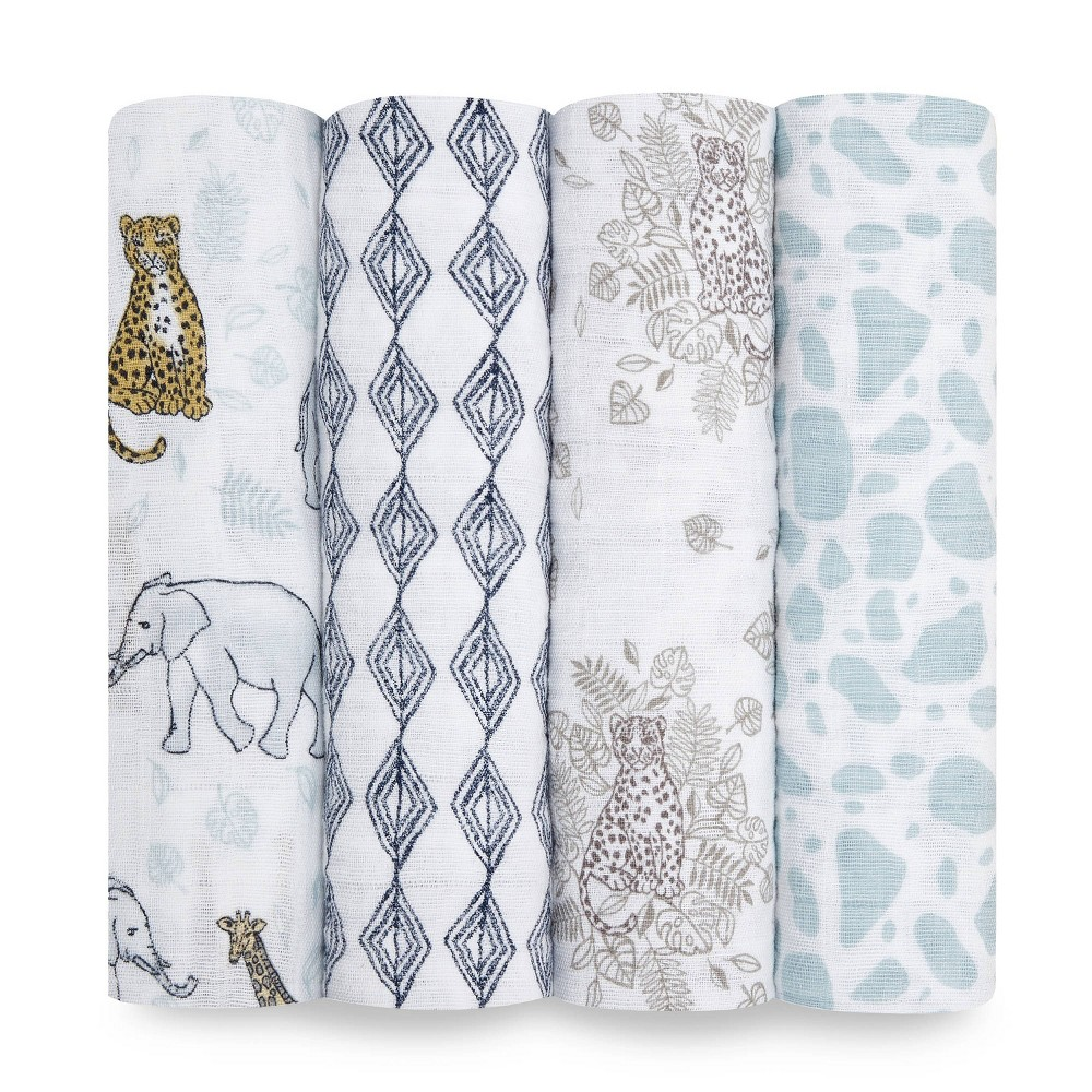 Image of Aden + Anais Classic Muslin Swaddles Jungle - White 4pk