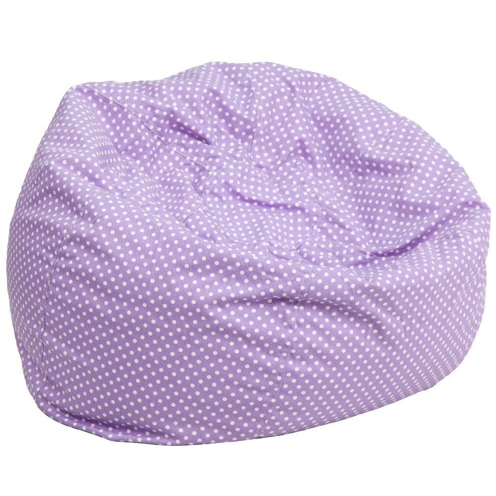 Oversized Bean Bag Chair - Lavender Polka Dots - Flash Furniture, Purple