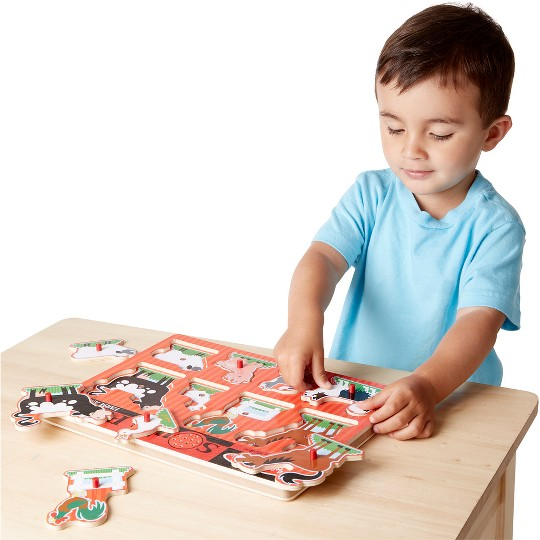 Melissa And Doug Farm Animals Wooden Peg Sound Puzzle 8pc image number null
