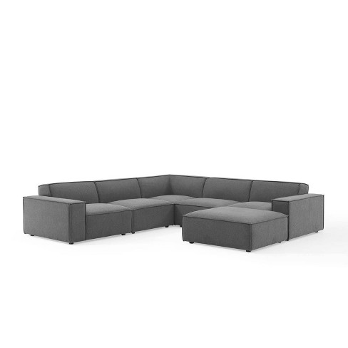 6pc Restore Sectional Sofa Charcoal - Modway : Target