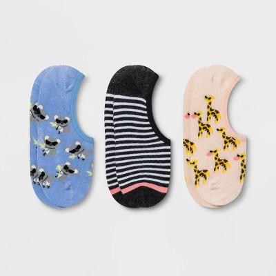 Women's Koala & Giraffe 3pk Liner Socks - Xhilaration™ Blue/Gray/Pink 4-10