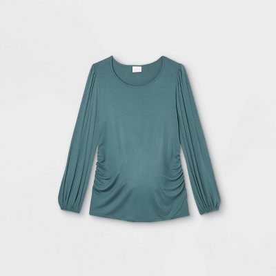 Maternity Long Sleeve Blouson Fitted Knit Top - Isabel Maternity by Ingrid & Isabel™ Green XL