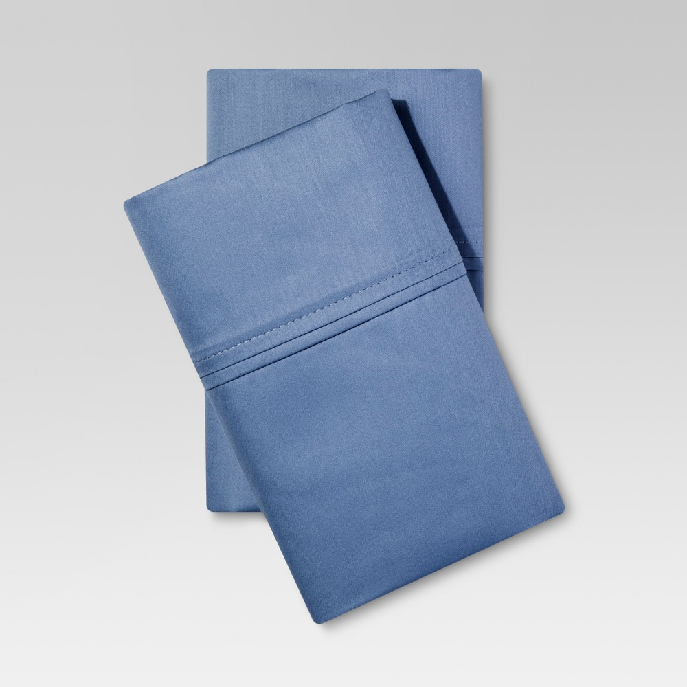 Performance Solid Pillowcase (King) Blue 400 Thread Count - Threshold, Washed Blue