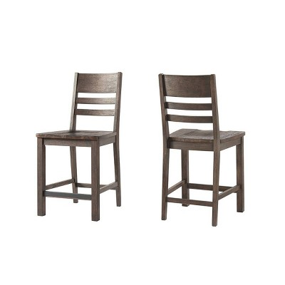 """Set of 2 24"""" Salem Ladderback Counter Height Barstools Brushed Cocoa - Intercon"""
