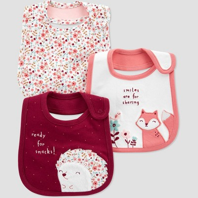 Baby Girls' 3pk Fox Bib Set - Just One You® made by carter's Burgundy