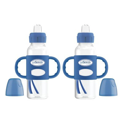 Dr. Brown's Narrow Neck Sippy Bottle with Handles - Blue - 2pk
