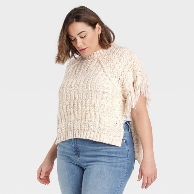 Women's Knit Poncho - Universal Thread™ Heather Cream