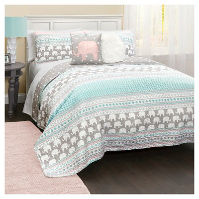Elephant Striped Quilt Bedding Set - Lush Décor