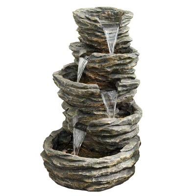 """39"""" Indoor/Outdoor 5-Tier Rock Fountain with Replaceable LED Lights Gray - Alpine Corporation"""