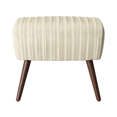 Laurel Ruched Ottoman with Cone Legs Velvet Cream - Opalhouse™