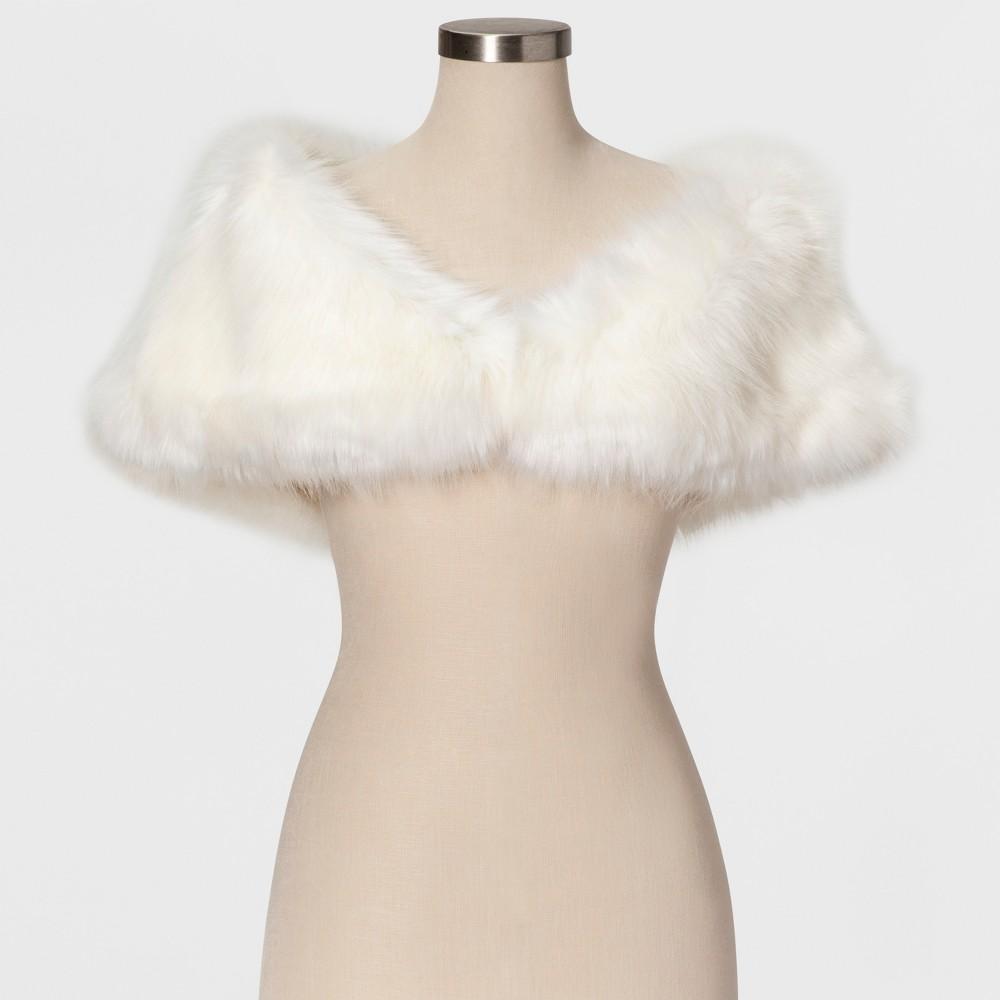 Women's Faux Fur Shrug - Estee & Lilly Cream S, Beige