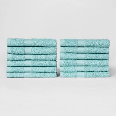 12pk Hand Towel Set Caribbean Aqua - Room Essentials™